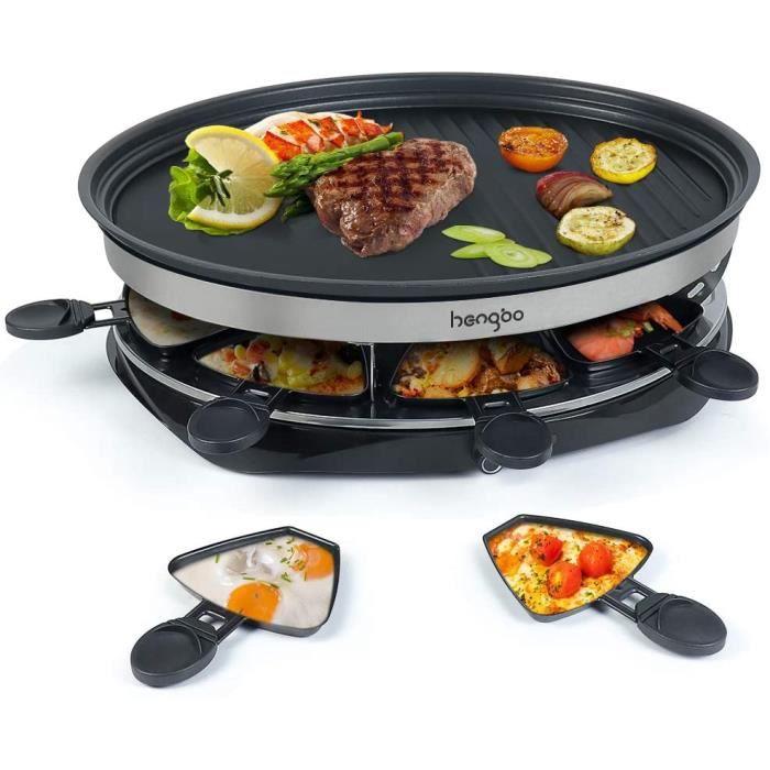 Appareil à Raclette à Température Réglable Inclus : 8 Coupelles, 8 Personnes - 1500W Noir