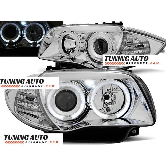 Phares avant BMW 1 e87, - e81 04-11 angel eyes chrome ( 26897 )