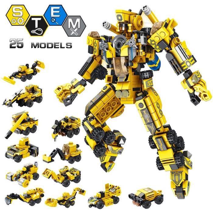 Robot Stem Jouet 25 en 1 Kit de Construction Briques Bâtiment Bricolage Pédagogique pour Enfants 6 7 8 9 10 Ans (573PCS)