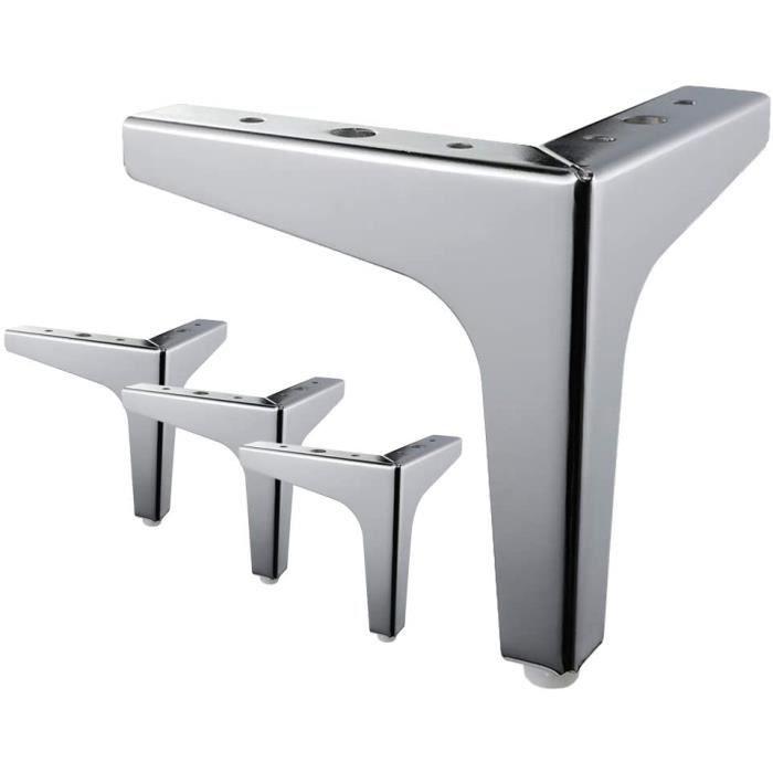 4 pièces pieds de lit, pieds de table en métal avec vis protecture de plancher pour diy meuble sofa fauteuil canapé chaise 5 inch