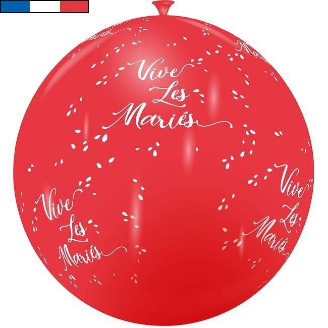 Ballon français mariage rouge et blanc 1m en latex (x1) R/11975