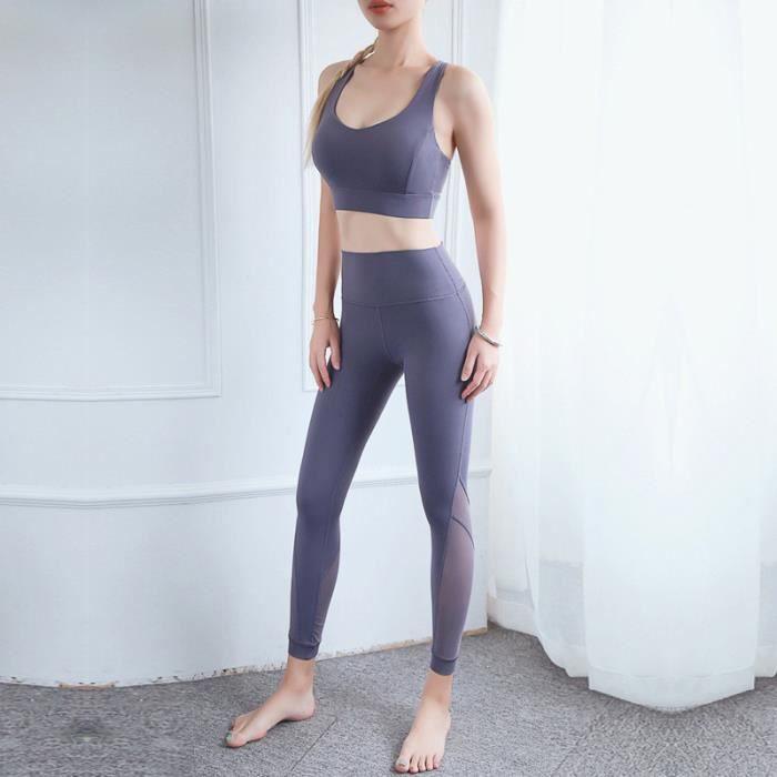 Brassiere De Sport femme - Brassiere De Sport 2 pièces taille haute sport Leggings - gris ZYue™