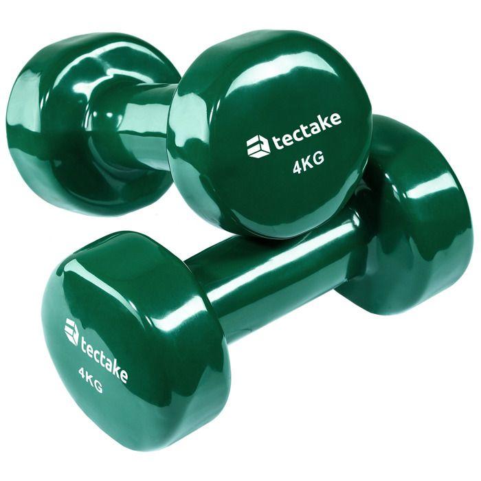 TECTAKE 2 Haltères de Musculation 4 kg en Vinyle Vert