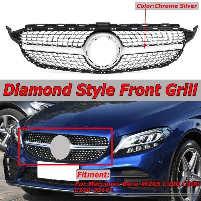 Grille de Calandre Avant Pare Chocs Pour Mercedes Benz W205 C200 C300 C250 2019+ Chrome Argent