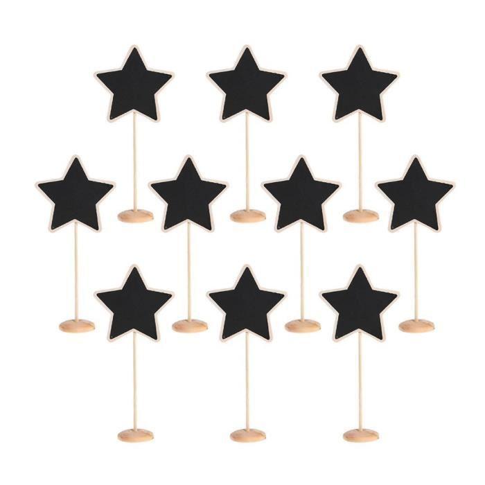 TRIXES 10 pcs étoile Tableaux noirs sur support de table personnalisé rustique décoratifs Sets de table pour les mariages et les