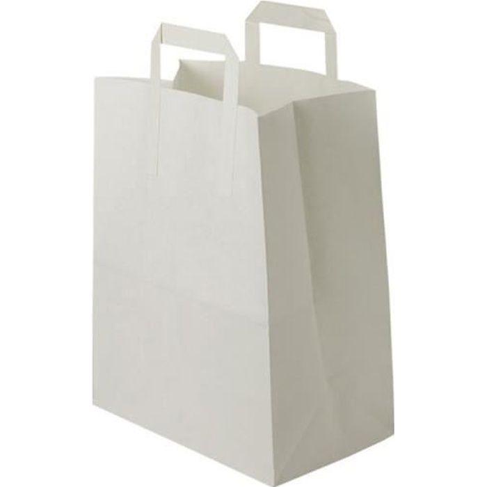 25 Petit Sac Papier kraft blanc écologique sac avec poignée largeur 22 x 28x 10 cm sac cabas anse plate solide résistant petit éléga