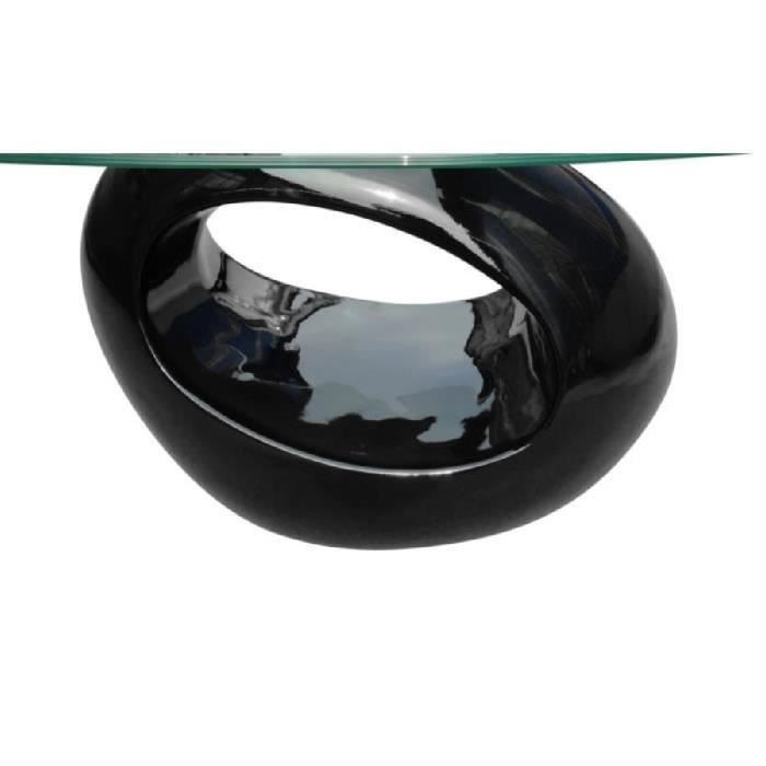Table basse en verre, pied noir laqué