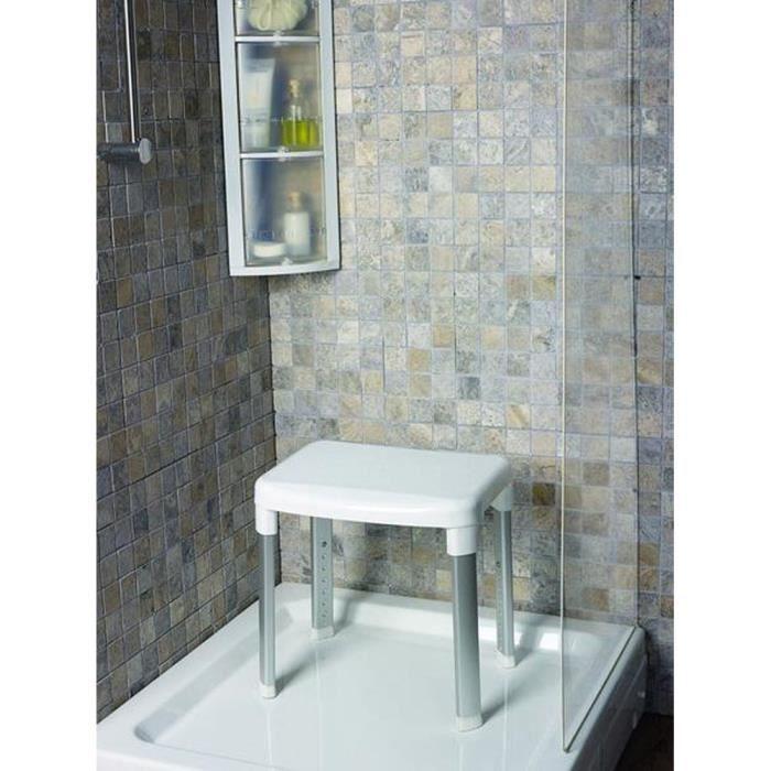 Tabouret de douche VITAEASY - En plastique - Supporte jusqu'à 150 kg - 42 x 34 cm - Blanc et chromé