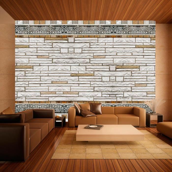 PAPIER PEINT Papier peint - Mosaique en pierre - 200x140