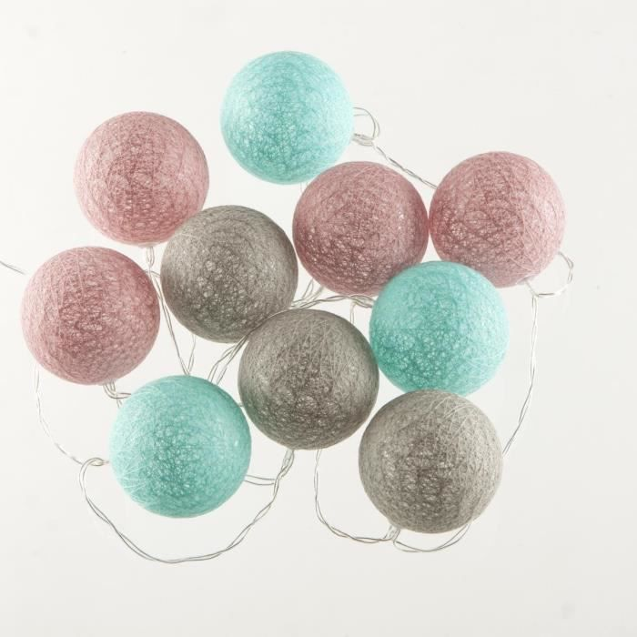 guirlande lumineuse 10 boules led coloris rose bleu gris achat vente guirlande lumineuse. Black Bedroom Furniture Sets. Home Design Ideas