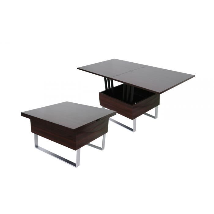Table basse design wenge relevable extensible luxa achat - Table relevable design ...