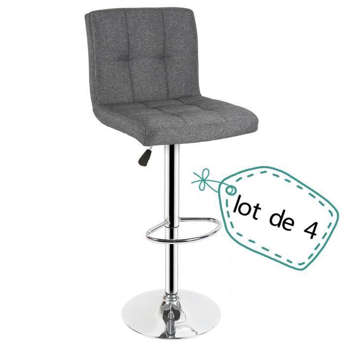 Nuo Lot De 4 Chaise Tabouret De Bar Cuisine Coussin Confortable En
