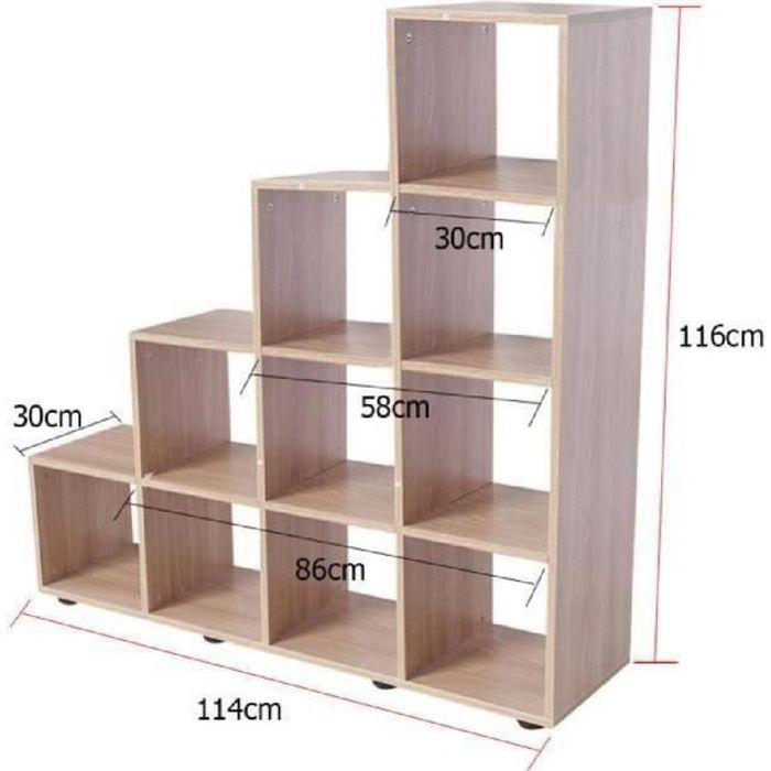 Biblioth que escalier echelle avec 10 cases ch ne achat for Meuble 12 cases
