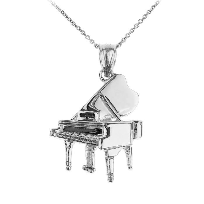 .925 Solide Argent Sterling Grand Piano Pendentif