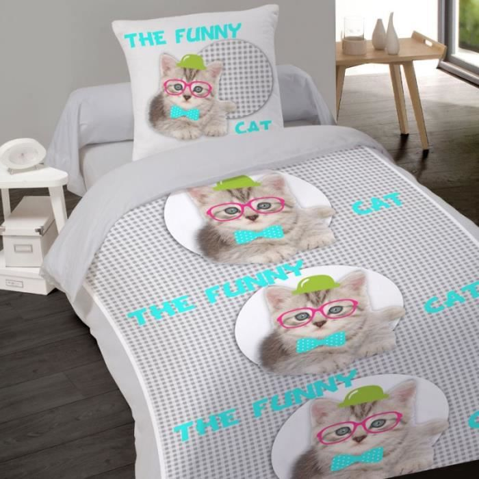 housse de couette chaton chat lunette 140 x 200 1 taie coton achat vente housse de couette. Black Bedroom Furniture Sets. Home Design Ideas