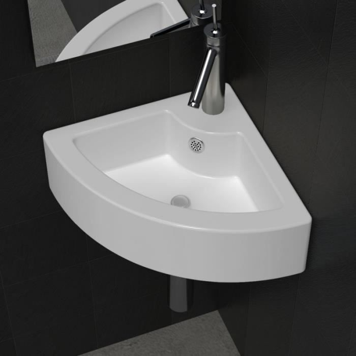vasque poser lave main lavabo salle de bain angle blanc c ramique achat vente lavabo. Black Bedroom Furniture Sets. Home Design Ideas