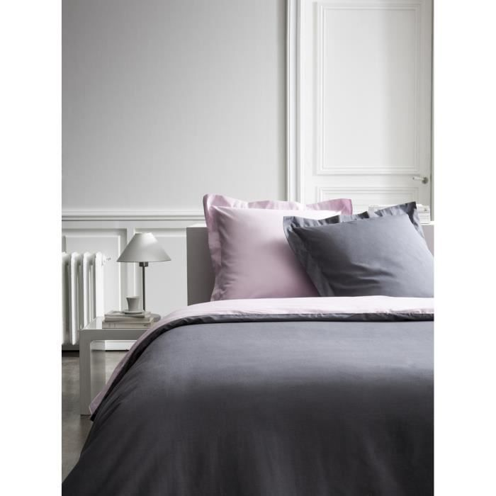 housse de couette percale bicolore gris rose 240x260 cm. Black Bedroom Furniture Sets. Home Design Ideas