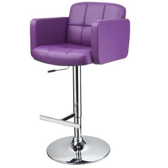 tabouret de bar en cuir synth tique violet achat. Black Bedroom Furniture Sets. Home Design Ideas