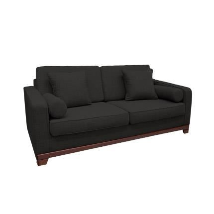 canap fixe 3 places en tissu 100 polyester anthracite achat vente canap sofa divan. Black Bedroom Furniture Sets. Home Design Ideas