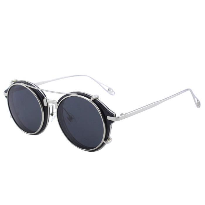 CGID E76 Clip sur Lunettes de Soleil Polaris/ées Steampunk M/étal R/étro Cercle Double Lentille UV400 Lentilles Vintage Rondes Miroir Pour Hommes et femmes
