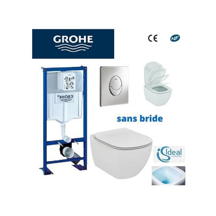 Pack Wc Grohe Cuvette Sans Bride Ideal Standard Plaque Grise Achat Vente Wc Toilettes Pack Wc Grohe Cuvette Sans Cdiscount