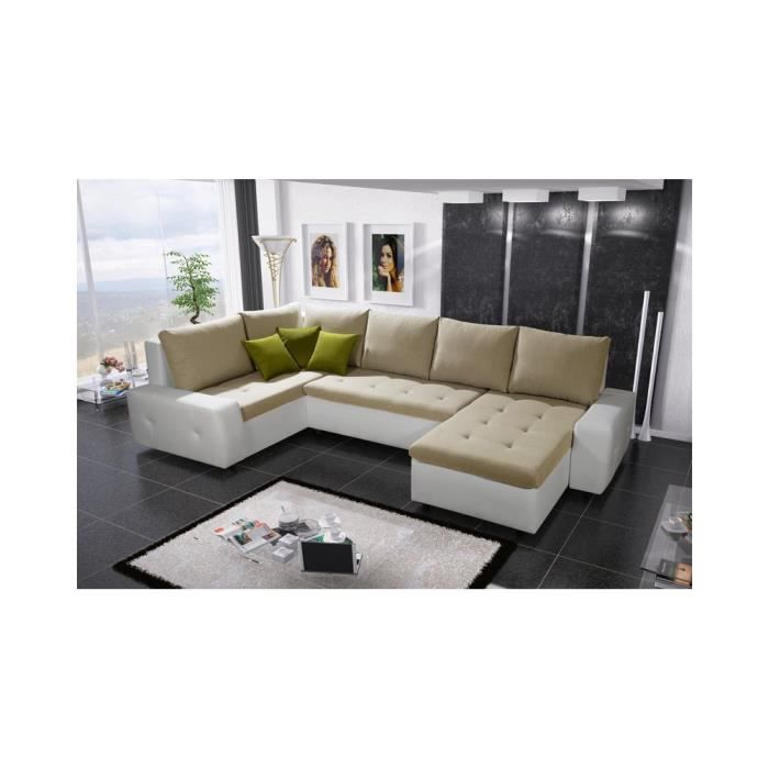 Justhome senso bis canap d 39 angle blanc beige clair h x l for Canape beige