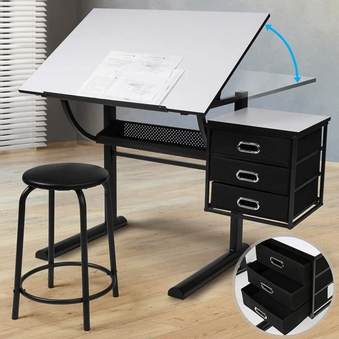 bureau avec tabouret pour architecte et technicien achat vente bureau bureau avec tabouret. Black Bedroom Furniture Sets. Home Design Ideas