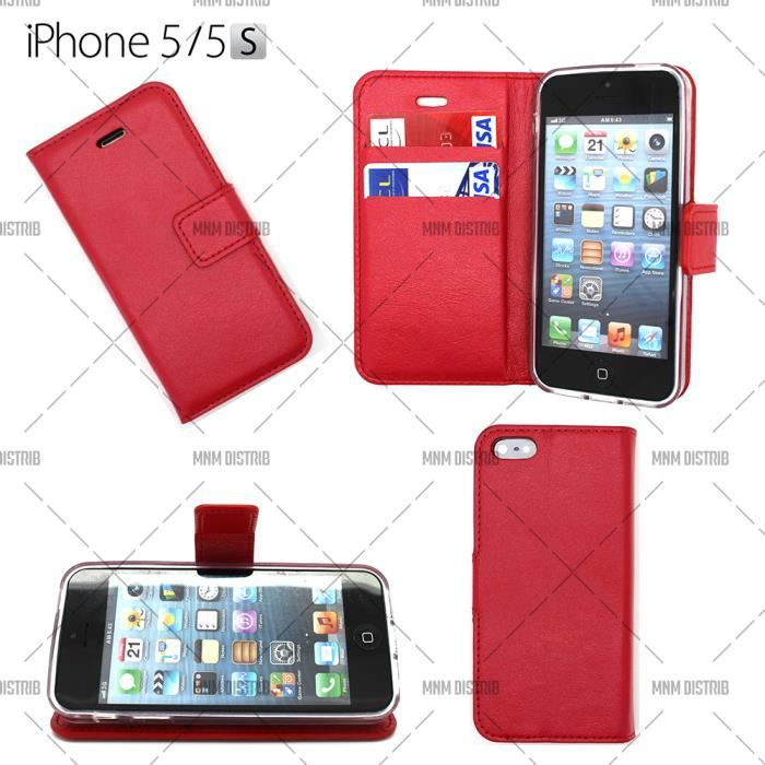 Housse coque etui portefeuille rouge en cuir iphone 5 5s for Etui housse iphone 5