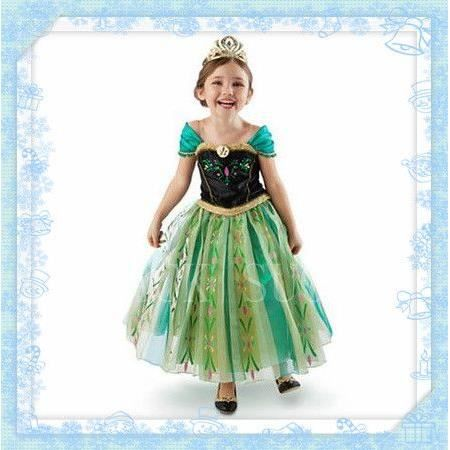 robe verte princesse anna frozen reine des neiges costume enfant anniversaire spectacle f te 2. Black Bedroom Furniture Sets. Home Design Ideas