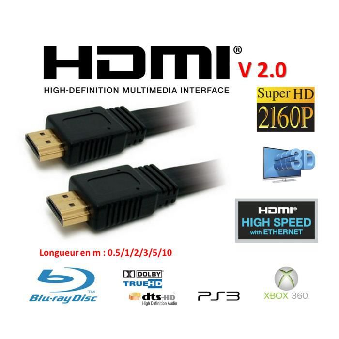 cable hdmi 2 0v noir c ble tv vid o son avis et prix pas cher cdiscount. Black Bedroom Furniture Sets. Home Design Ideas