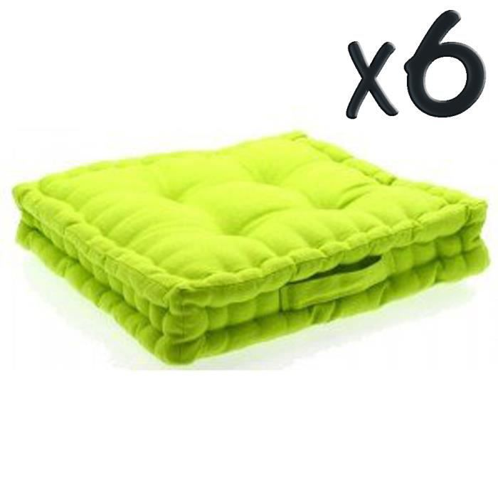 lot de 6 coussins de sol en coton vert anis 40 achat vente coussin cdiscount. Black Bedroom Furniture Sets. Home Design Ideas