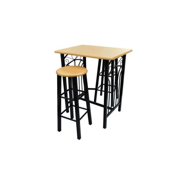 Set table de bar avec 2 tabourets haute table cuisine avec for Table cuisine avec tabouret bar