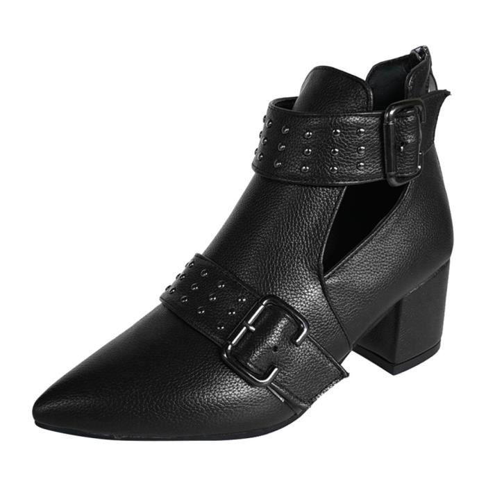 Bottes - Femmes Vintage Ladies cheville Rome Toe Casual Chaussures Pointu simples Bottess courtes Noir 41