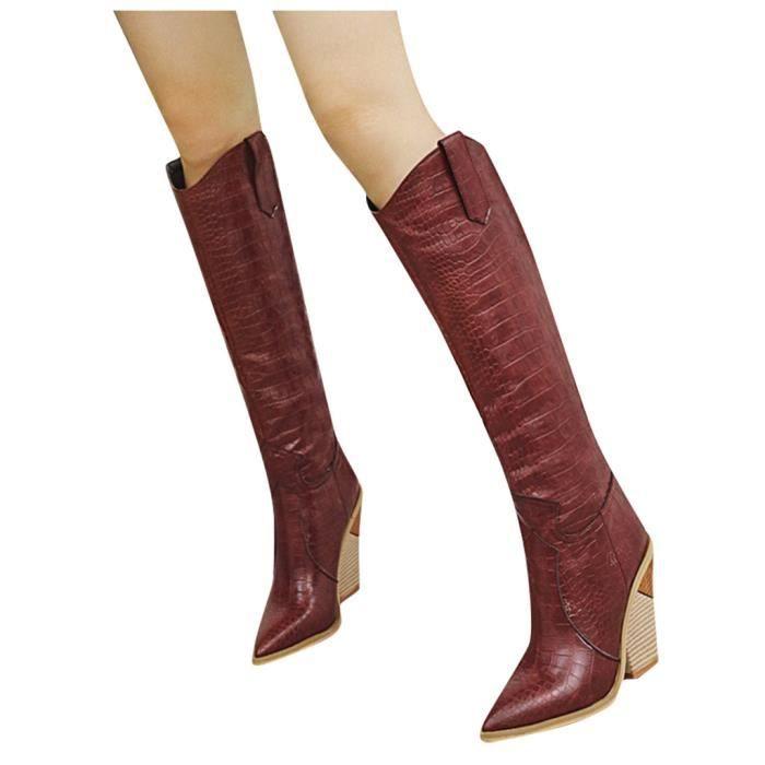 Bottes de cowboy brodées confortables de femmes LQT90906601RD35_wat