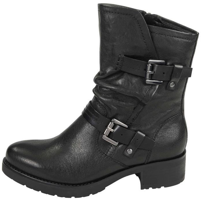 Femmes Boucle Chaussures en cuir Casual Bracelet bout rond talons bas Bottes Cowboy cheville Noir