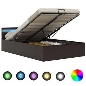 STRUCTURE DE LIT Cadre de lit à rangement avec LED Gris Similicuir