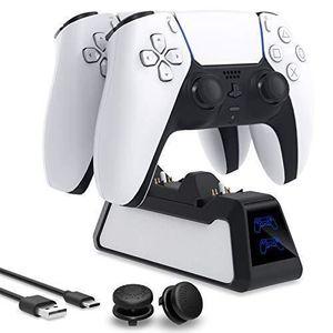 GEEMEE pour PS5 Manette Chargeur,Charge avec 4 Ports de Charge de Type-C Chargeur de manettes,Chargeur Station avec Indicateur LED pour Sony Playstation 5