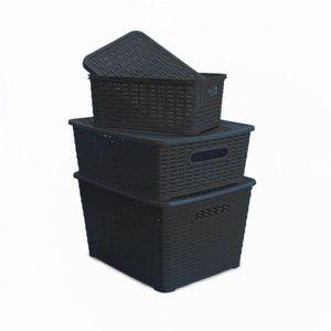 BOITE DE RANGEMENT Lot de 3 boîtes de rangement en plastique avec cou