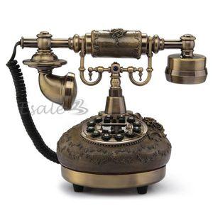 Téléphone fixe Téléphone Fixe en Résine Antique avec Repondeur Dé