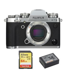 APPAREIL PHOTO RÉFLEX FUJI X-T3 Body Silver + 64GB SD card + NP-W126S Ba