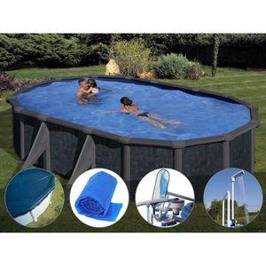 PISCINE Kit piscine acier aspect rotin Gré Rattan ovale 6,