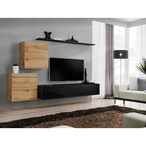 MEUBLE TV Meuble TV mural SWITCH V design, coloris noir bril