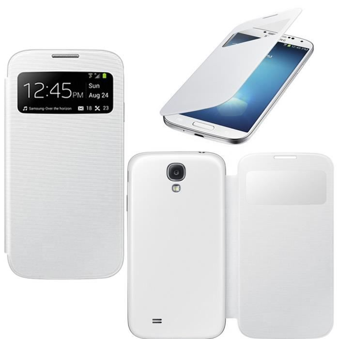 housse coque samsung galaxy s4 mini view blanc achat. Black Bedroom Furniture Sets. Home Design Ideas