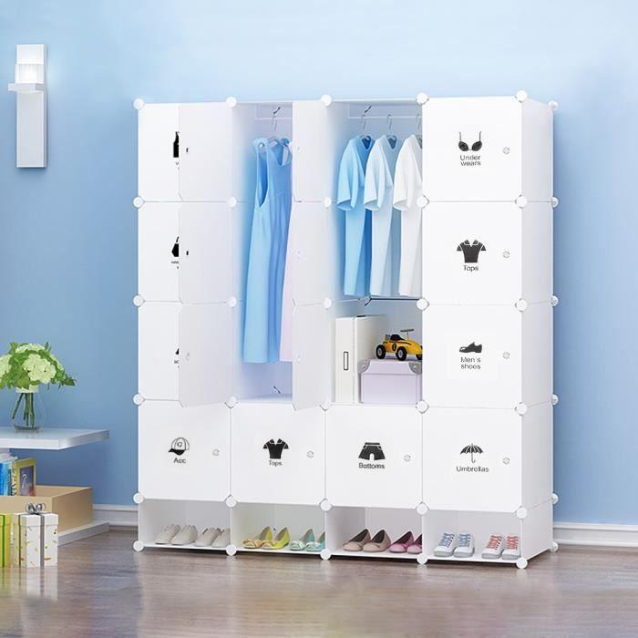 Armoire en plastique à 4 couches,armoire à chaussures-rangement de vêtements