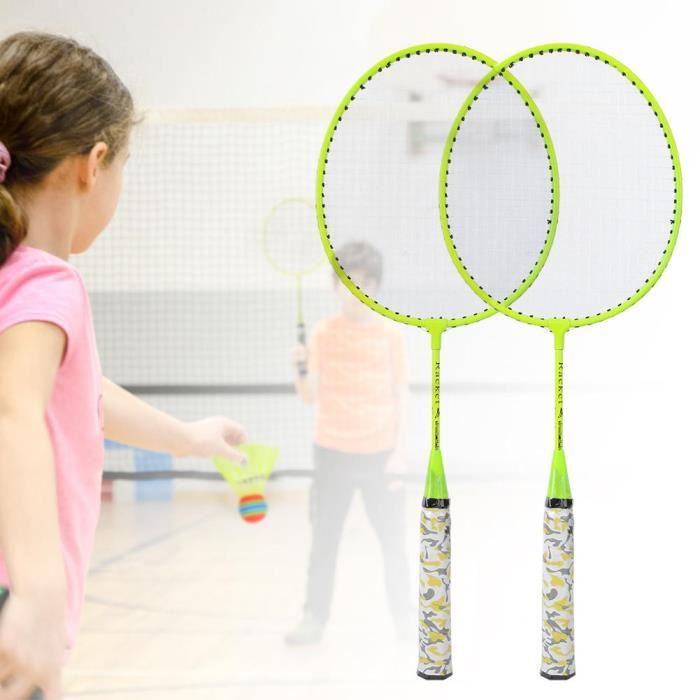 Kit badminton Kit de Raquette Badminton avec 2 Balles Extérieur Jouet d'Enfant (Jaune Fluorescent )