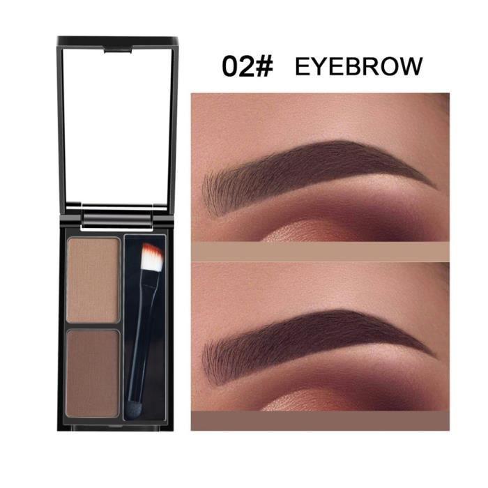 Kit d'ombrage cosmétique de palette de sourcils de poudre de sourcil de 2 couleurs avec le miroir de brosse B WTX80627483B_Ya