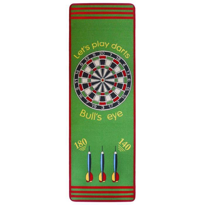 XIXI Tapis de jeu Motif de fléchettes 79 x 237 cm Vert et rouge