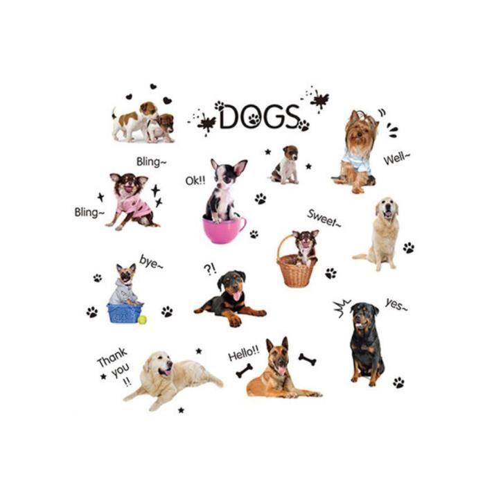 2pcs Animal Chien Papier Peint Amovible Enfants Stickers Muraux Coller Cartoon Murale