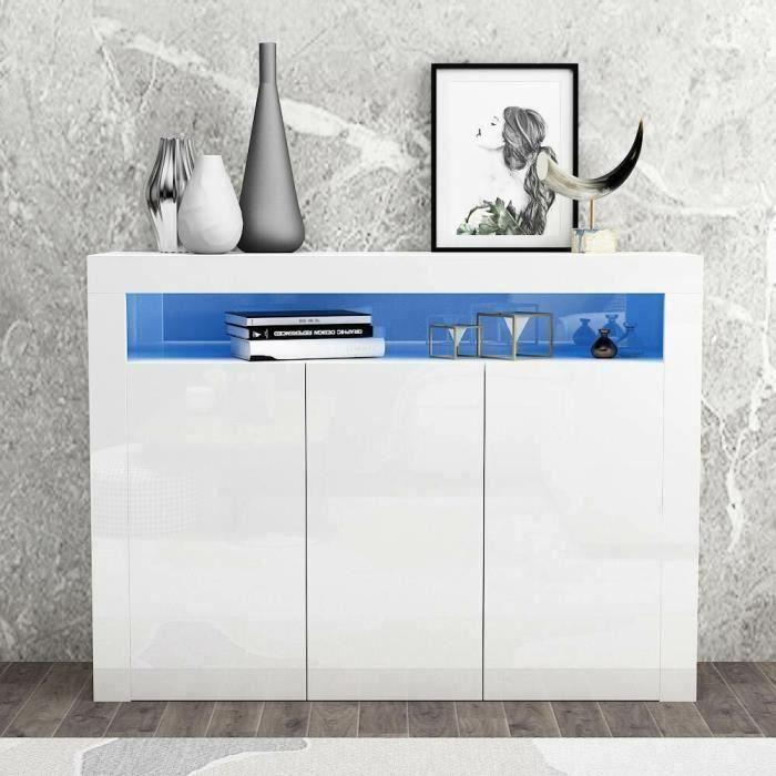 Dripex Buffet Bas LED Contemporain Blanc Laqué Brillant - L 130 cm x 40 cm x 93 cm - 3 portes, Armoire de Rangement