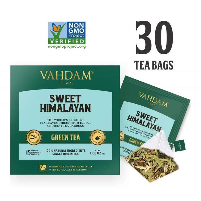 Feuilles de Thé Vert de l'Himalaya avec Stevia (30 Sachets de Thé), Mélange de SUPER ALIMENTS - Thé Vert, Stevia, Curcuma,